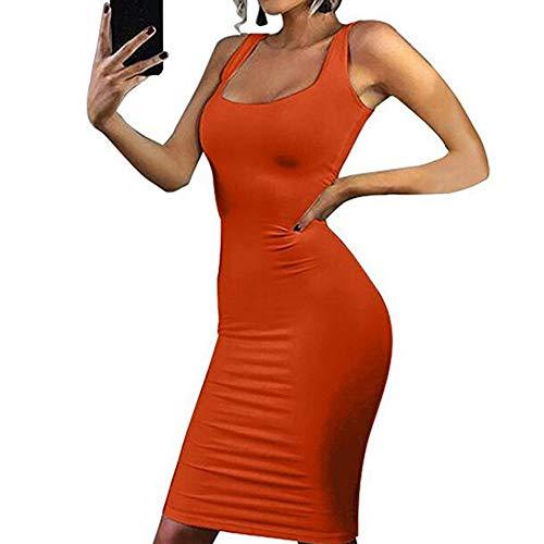 MILIMIEYIK Blouse Women's Sexy Spaghetti Strap Backless Sleeveless Bodycon Club Mini Dress Orange from MILIMIEYIK Blouse