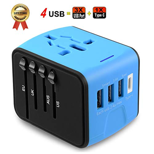 Universal Travel Adapter JMFONE Type C 4 USB International Power Plug Converter Wall Charger for UK European EU AU US for 200 Countries (blue) ()