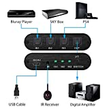 Neoteck Toslink Switch 3x1 Toslink Digital Optical Audio Switcher with IR Remote Control Supported Dolby-AC3 DTS LPCM2.0 for PS3 PS4 Xbox Blu-Ray Player PC to AV Amplifier Speaker