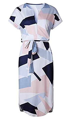 loral Print V-Neck Womens Summer V-Neck Casual Slim Geometric Pattern Dress … (M, Picture Color) (Dresses With Geometric Pattern)