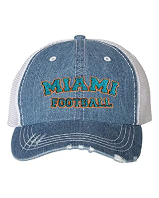 Go All Out Adult Miami Football Embroidered Distressed Trucker Cap