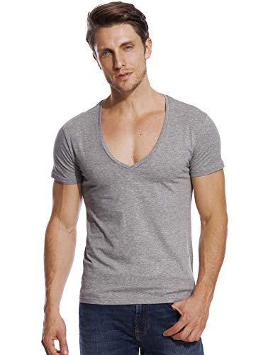 Stretch T Shirt for Men Deep V Neck Tee Slim Fit Low Cut Male Vee Top Gray ()