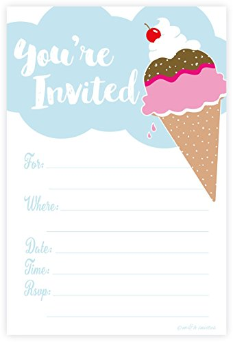 Ice Cream Party Invitations - Fill In Style (20 Count) With Envelopes -