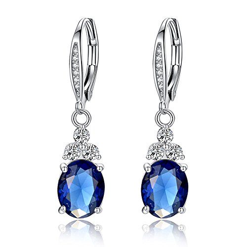 - BISAER White Gold Plated Created Sapphire Blue Solitaire Lady Love Hoop Leverback Dangle Drop Earrings for Women Wedding