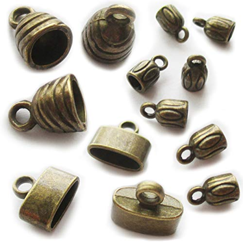 (Heather's cf bronze cord end caps leather cord ends mixed cord for jewelry making 90pcs)