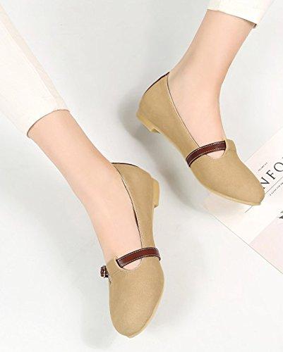 Aisun Femmes Confort Décontracté Sangle Boucle Conduite Voitures Low Cut Bout Rond Ballet Slip On Appartements Chaussures Abricot