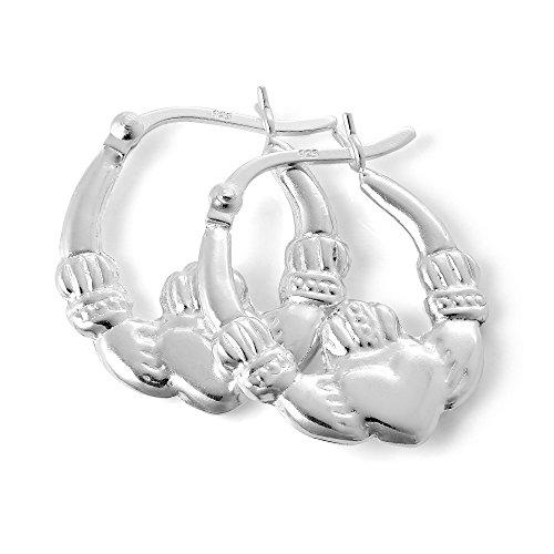 Boucles d'Oreilles Créoles Bague de Claddagh 17mm en Argent 925/1000