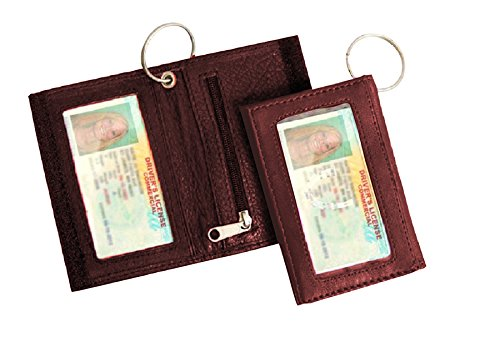 Leather Id Holder, Two-fold, Two I.D. Windows Keychain Pocket Wallet (Brown)