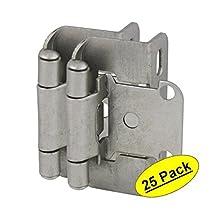 "Cosmas 27550-SN Satin Nickel Self Closing Partial Wrap Cabinet Hinge 1/2"" Inch Overlay [27550-SN] - 25 Pair Pack"