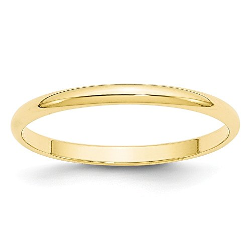 (Solid 10k Yellow Gold 2mm Half Round Wedding Band Size)