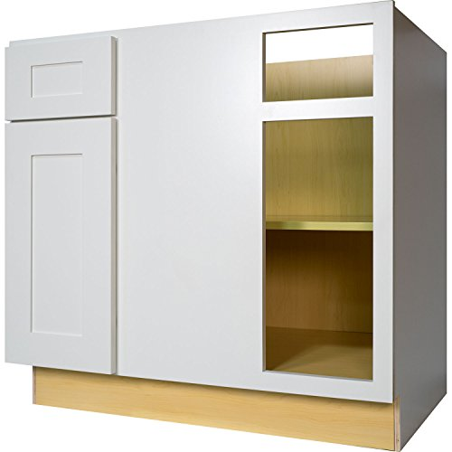 Inch Blind Corner Base Cabinet (Right) in Shaker White with 1 Soft Close Drawer & 1 Soft Close Door 42