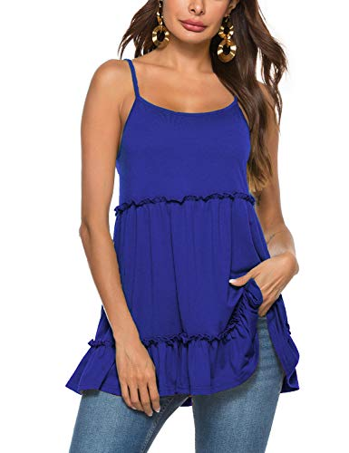 Sweetnight Womens Summer Clothes Peplum Backless Tank Tops with Ruffle Hem Camisole Royal Blue