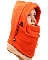 Eforstore 6 in 1 Thermal Fleece Balaclava Hat Hood Police Swat Ski Bike Wind Stopper Face Mask New Caps Neck Warmer (Orange)