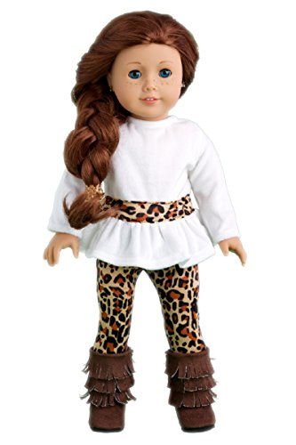 (DreamWorld Collections - Fashion Safari - 3 Piece Outfit - Ivory Velvet Tunic, Cheetah Leggings and Fringed Boots - Clothes Fits 18 Inch American Girl Doll (Doll Not Included))