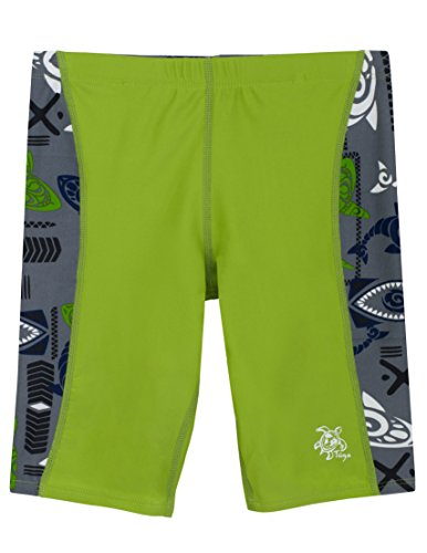 (Tuga Boys Jammer Swim Short (UPF 50+), Tribal Green, 4/5 yrs (20-22