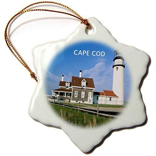 Enidgunter Lighthouse On Cape Cod in Massachusetts Porcelain Snowflake Decorative Hanging Christmas Ornament 3 inch
