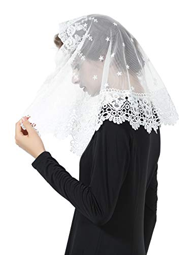 Princess Lace Veil Church Cathedral Catholic Chapel Mantilla Communion Easter Latin Mass Head Covering Off White