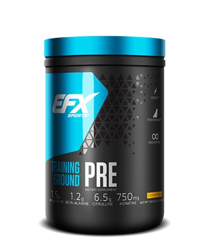 Pre Training (EFX Sports Training Ground Pre Workout Powder, Orange Mango, 500 Gram)