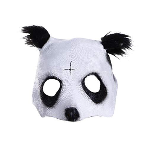 Half Face Panda Mask Halloween Horror Grimace Zombie
