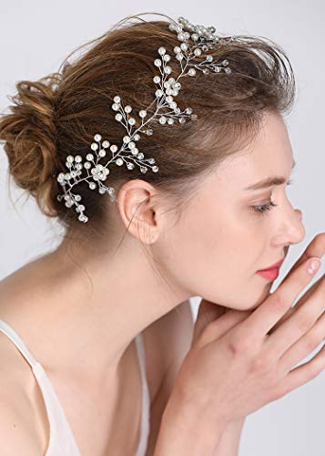 fxmimior Bridal Wedding Headpiece Hair Vine Crystals Rhinestone Headband Tiara Wedding Party Evening Hair Accessory (rose gold)