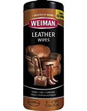 Weiman Wipes-Non Toxic Clean Condition UV Protection Help Prevent Cracking or Fading of Leather Couches, Car Seats, Shoes, Purses, Clear 30 Count