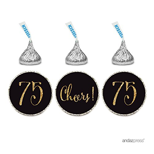Andaz Press Gold Glitter Print Chocolate Drop Labels Stickers, Cheers 75, Happy 75th Birthday, Anniversary, Reunion, Black, 216-Pack, Not Real Glitter, for Hershey's Kisses Party Favors