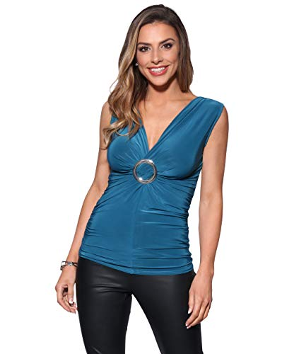 Arricciato Verde Drappo Blusa Krisp® Incrociato V Tunica Donne Con Top Jersey A Collo hQdxtrCs