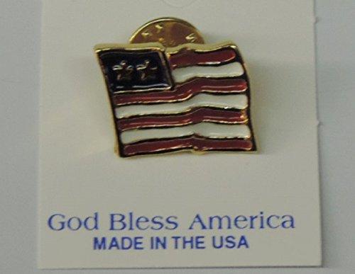 Gold Tone Flag Lapel Pins - God Bless America