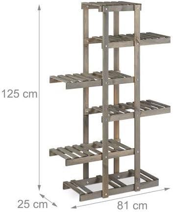 Relaxdays Escalier /à fleurs 5 niveaux Shabby 125x81x25cm int/érieur /Étag/ère bois blanc Escalier plantes