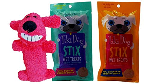 Tiki Dog Small Breed Grain Free Stix Wet Treats 2 Flavor Variety Plus Toy Bundle, 1 Each: Duck and Chicken (6 Count…