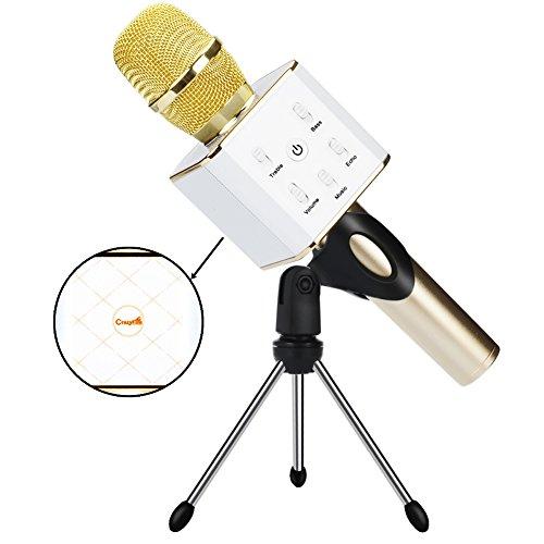 CrazyFire Wireless Karaoke Microphone,Bluetooth Handheld Karaoke Speakers Portable KTV Cellphone Microphone Voice Speaker with 2600mAh Battery for iPhone iPad iPod Android Phone