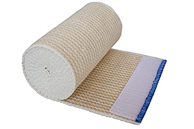 "NexSkin 4"" Cotton Elastic Bandages - Hook and Loop Closure - Stretches to 15 ft Long - Highest Quality"