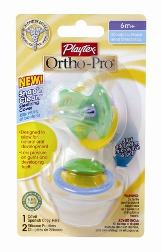 Playtex Playtex Ortho-Pro Silicone Older Baby Pacifier with Sterilizing Cover, 2ct (Discontinued by Manufacturer)