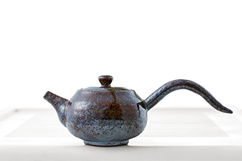 Guangxi Chinese Teapot with Wood Handle Mottled Glaze Teapots Clay Taiwanese Teaware (burnt chestnut)