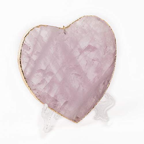 AMOYSTONE Heart Rose Quartz Coaster Natural Crystal Stone Gold Plated Edge Home Decoration 1p 3-3.5 inches