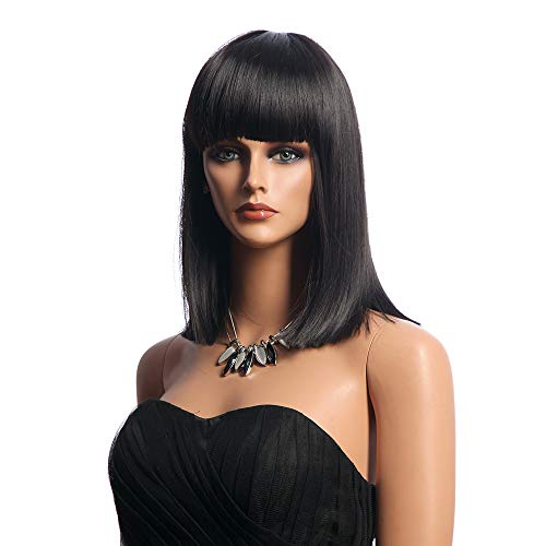 Qaccf 16 inches Women's Straight Blunt Bob Cut Wig Black silky Wigs with Full Hair Bangs