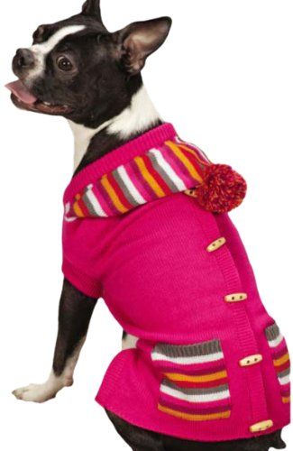 East Side Collection Bright Stripe Dog Sweater Vest Large Pink
