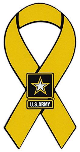 Ribbon Shaped Magnet - US Army Yellow Ribbon Military Magnet - Cars, Trucks, SUVs, Refrigerators, (Yellow Ribbon Army)