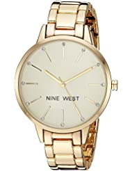 Nine West Womens NW/2098CHGB Crystal Accented Gold-Tone Bracelet Watch
