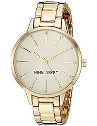 Nine West NW2098CHGB Reloj Análogo para Mujer, color Beige/Oro