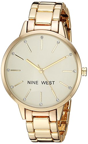 Nine West Women's  Crystal Accented Gold-Tone Bracelet Watch