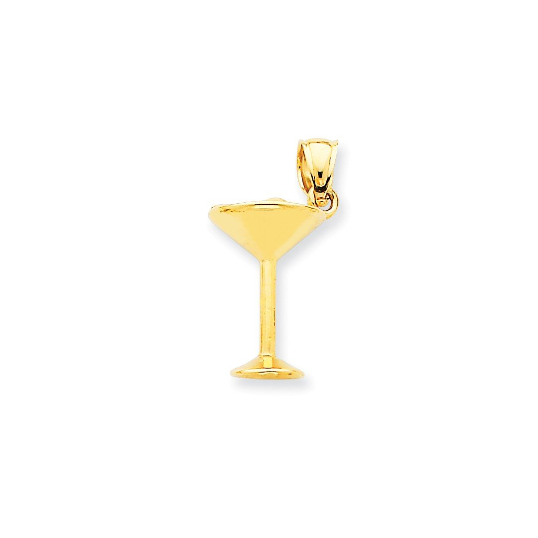 ICE CARATS 14k Yellow Gold Martini Glass Pendant Charm Necklace Food Drink Fine Jewelry Ideal Mothers Day Gifts For Mom Women Gift Set From Heart