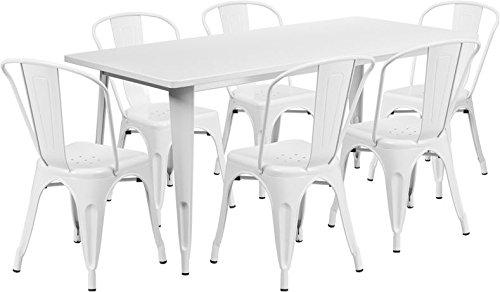 31.5''x63''Rectangular White Metal Indoor-Outdoor Restaurant Table Set w/6 Chair