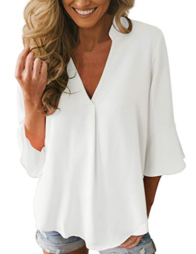 Dean Fast Women Casual Chiffon Flare Sleeve V Neck Plus Size Blouses Shirts Loose Flowy Tops White L