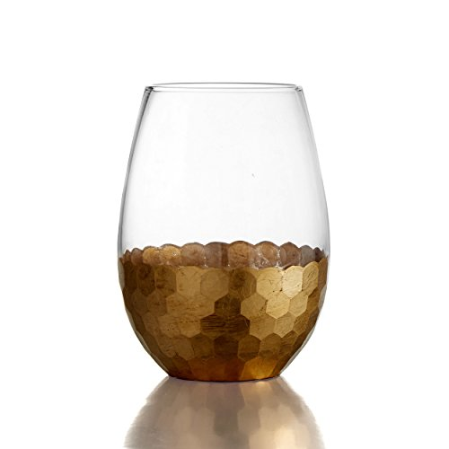 Fitz and Floyd 229705-ST Daphne Stem less Glasses (Set of 4 ), Gold -