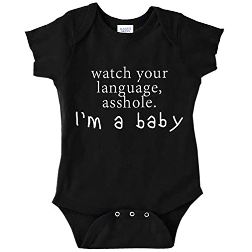 Price comparison product image Watch Your Language Asshole,  I'm A Baby Funny Baby Bodysuit Infant (BLACK,  24 MONTHS)