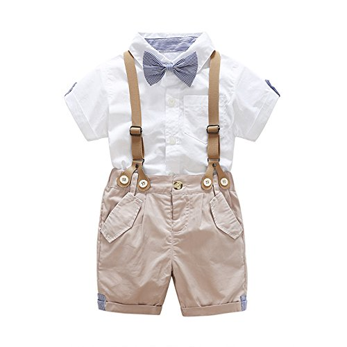 - xirubaby US Baby Boys Bowtie Gentleman Romper Jumpsuit Overalls Rompers Sets (70/0-6 Month, Khaki)
