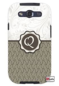 Monogram Initial Letter Q Unique Quality Hard Snap On Case for Samsung Galaxy S3 SIII i9300 (WHITE)