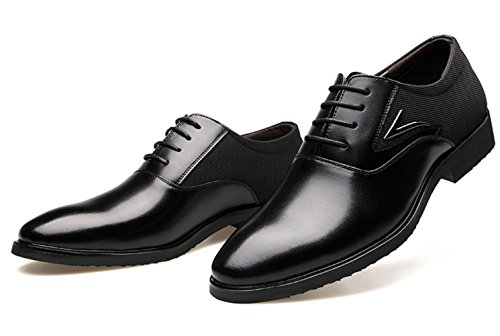 CSDM Pattini di cuoio genuino dei nuovi uomini di scarpe di cerimonia nuziale casuali delle scarpe singole di formato grande traspirante , black , 42