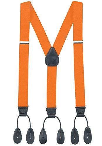 (Hold'Em Suspender for Men Made in USA Y-Back Genuine Leather Trimmed button end tuxedo suspenders Many colors and designs - Orange (Regular, 46